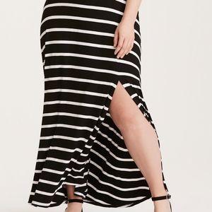 Torrid - Black and White Striped Maxi Dress - Size